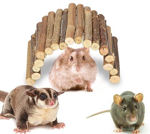 Puente de hámster Puente de Escalera de Madera Escondite de Animales pequeños Roedores Juguete masticable Jaula para Mascotas Decoración para Conejillo de Indias (M): Amazon.es: Productos para mascotas