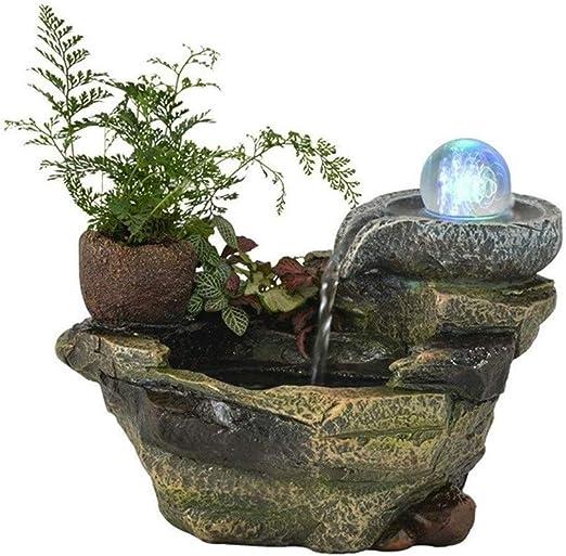 Lcxligang Granja Cubierta de rocalla Agua Resina decoración del jardín de la Cascada del Estanque de Peces Fuente de Mesa de Escritorio Bonsai (Size : Stone to Run): Amazon.es: Hogar