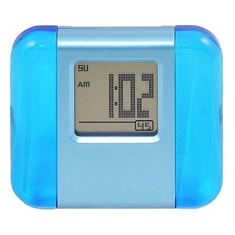 Reloj despertador reloj reloj despertador, Pequeño de viaje – aluminio y acrílico LCD Reloj Despertador