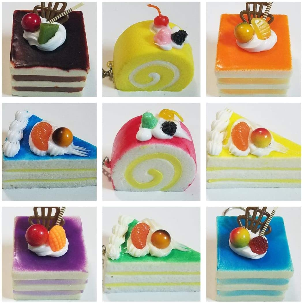 JM Box of 15 Squishies Beautiful Kawaii Cute Scented Squishy Charms Soft Cakes Key Chain Rings Straps Decompression Squeeze Toys Collections Decorations