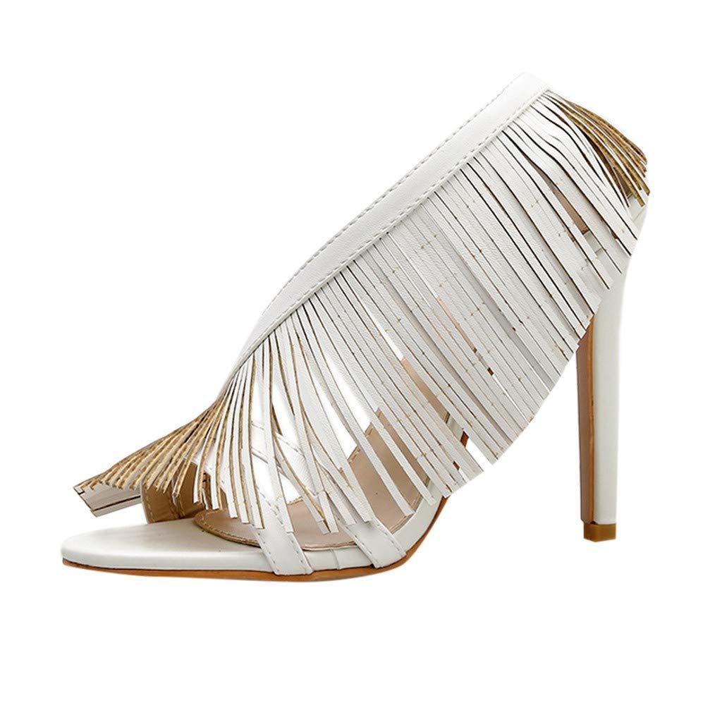 Women's Fringe High Heels Pumps Fashion Shoes Charming Pumps Sandals (White, 7.5 Women US)
