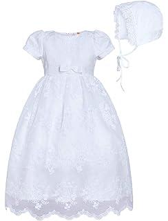 Gigis Classy Kids Baby Girls White Diamond Mesh Yoke Dress Bonnet Christening Baptism Dedication