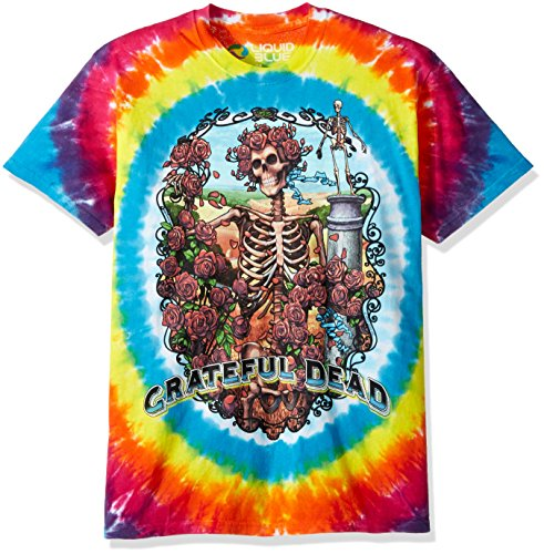 Grateful Tie Dye Dead - Liquid Blue Men's Grateful Dead Rainbow Bertha Tie Dye Short Sleeve T-Shirt, Multi, X-Large