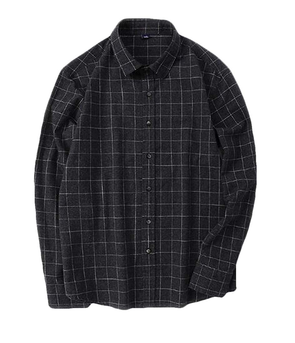 BYWX Men All-Match Cotton Buffalo Casual Flannel Retro Long Sleeve Shirts Black US XS