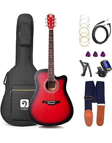 Guitar Acoustic Electric, Acoustic Guitar Cutaway 41 Inch Full Size Folk Guitar Beginner Kit,