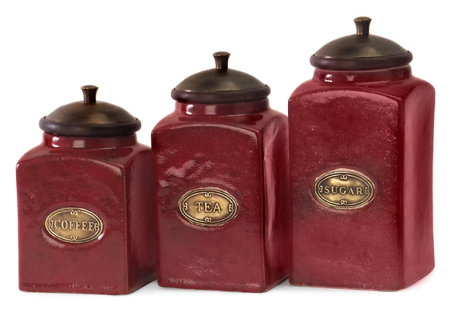 amazon com set of 3 rustic red lidded ceramic kitchen canisters amazon com set of 3 rustic red lidded ceramic kitchen canisters kitchen dining