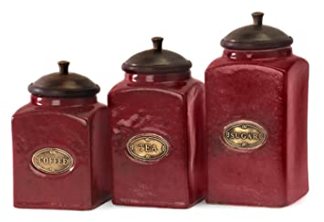 Charmant Set Of 3 Rustic Red Lidded Ceramic Kitchen Canisters