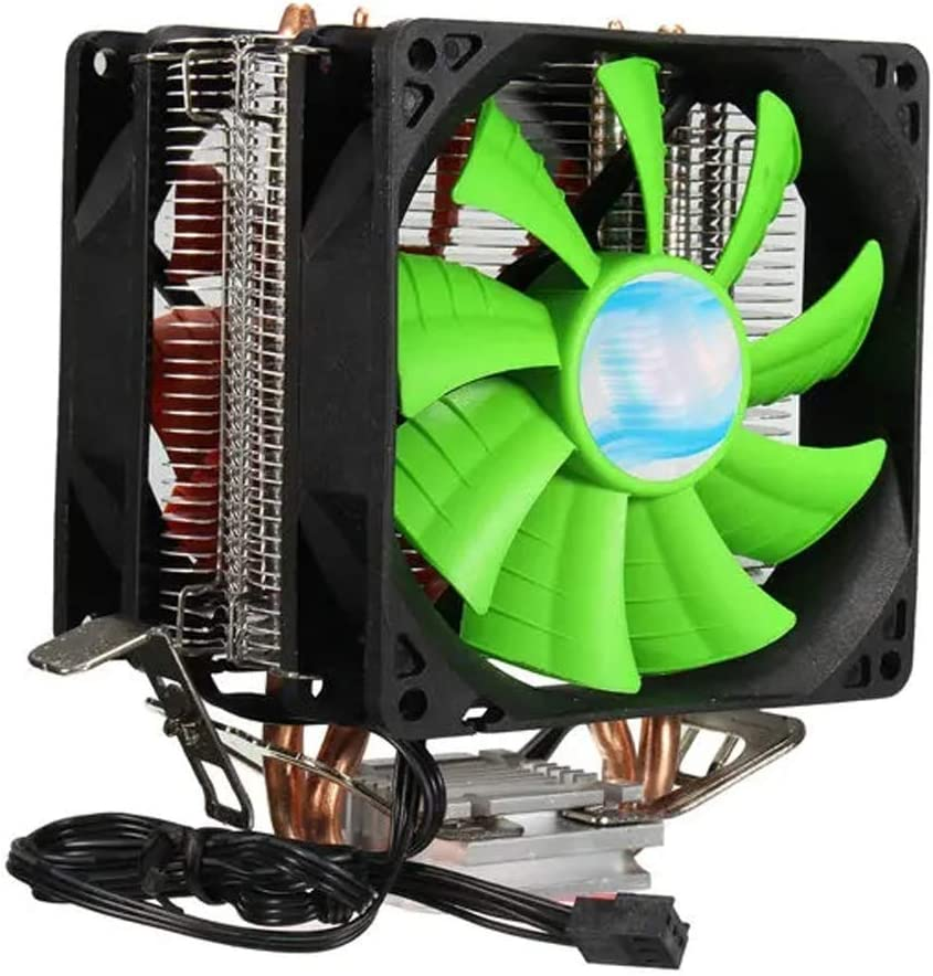 Color : Green, Size : One Size Lyntop High Performance Cooling Fan 3 Pin Dual Fan CPU Cooler Heat Sink Compatible with Intel LGA775//1150//1155 AMD AM2//AM2+//AM3