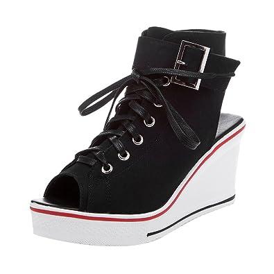 1b08a35c676 Women s Peep Toe Canvas Wedge Heeled Platform Fashion Sneaker Pump Shoes  4  Black Label 35