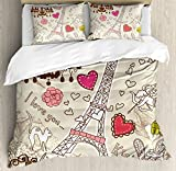Paris Decor Duvet Cover Set by Ambesonne, Doodles Illustration of Eiffel Tower Hearts Chandelier Flower Love Themed Vintage Artwork, 3 Piece Bedding Set with Pillow Shams, King Size, Beige Pink