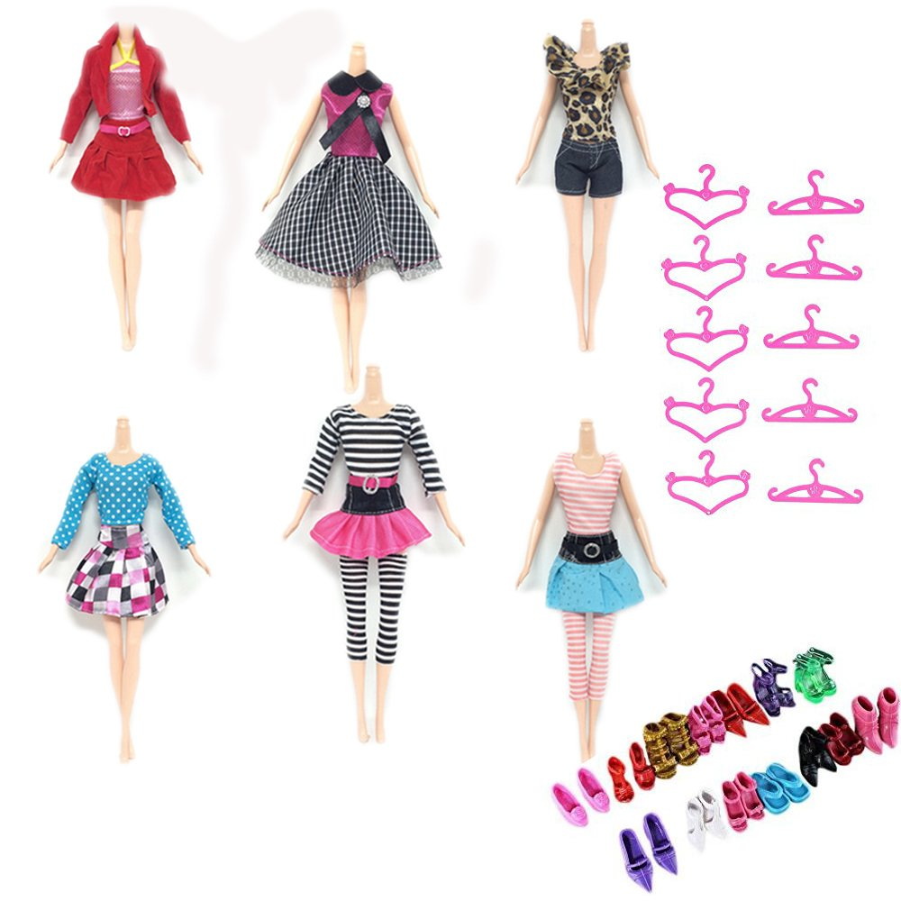 ZWSISU 30=10 pc fashion outfits +10 pairs of shoes+10 hangers for barbie dolls