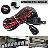 Junda LED Light Bar Wiring Harness Kit, 12V 40A On off Switch Power Relay Blade Fuse for Off Road LED Work Light Bar