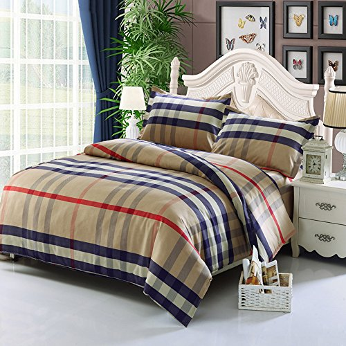 Cdybox Rural Style Duvet Cover With Quilt Cover Pillowcase Bedding Twin Queen King  2 0M  Light Tan Check
