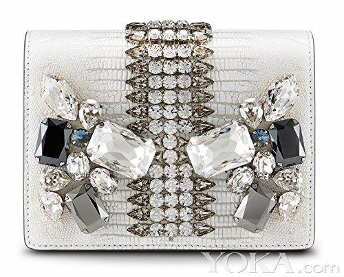 MCM Romantic Chandelier Clutch White Swarovski Leather Bag New (Swarovski Leather Evening Bag)