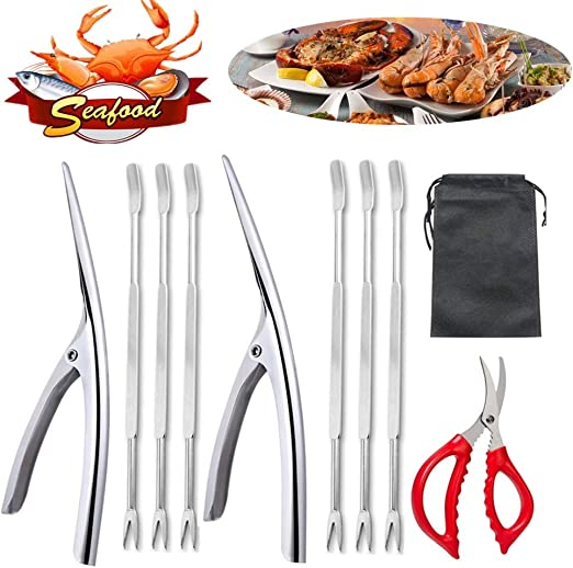 10PCS Crab Nut Crackers and Forks Stainless Steel Seafood Shellfish Tools Kit