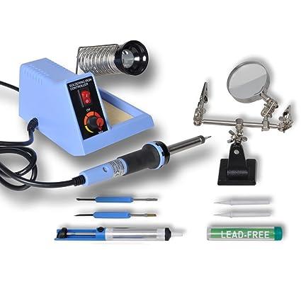 Estación de soldadura analógica 48 W con accesorios azul: Amazon.es ...