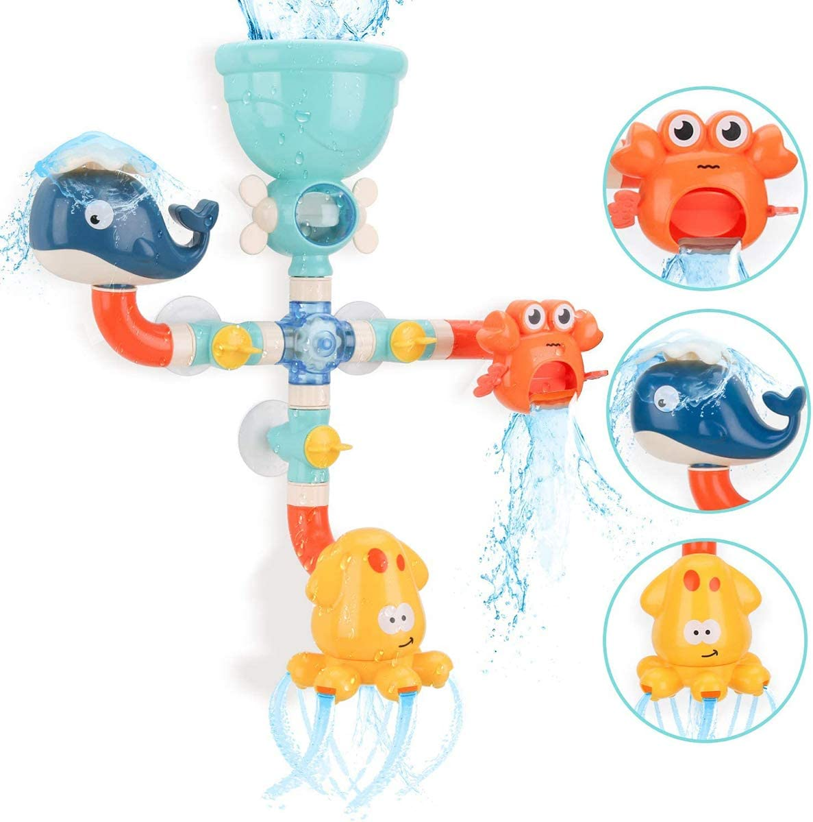 Bath Toys with Fun Widgets Spinning Gear Shower Bath Game Waterfall Water Station Bath Wall Bathtub Toys Gift for 2 3 4 5 Years Old Boys Girls