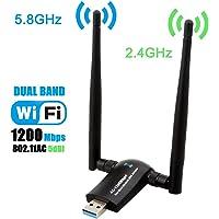 Wireless USB WiFi Adapter, Techkey 1200Mbps Dual Band 2.4GHz/300Mbps 5GHz/867Mbps High Gain Dual 5dBi Antennas Network WiFi USB 3.0 for Desktop Laptop with Windows 10/8/7/XP, Mac OS X, Ubuntu Linux