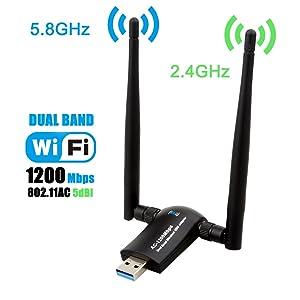 Wireless USB WiFi Adapter, Techkey 1200Mbps Dual Band 2.4GHz/300Mbps 5GHz/867Mbps High Gain Dual 5dBi Antennas Network WiFi USB 3.0 For Desktop Laptop with Windows 10/8/7/XP, Mac OS X