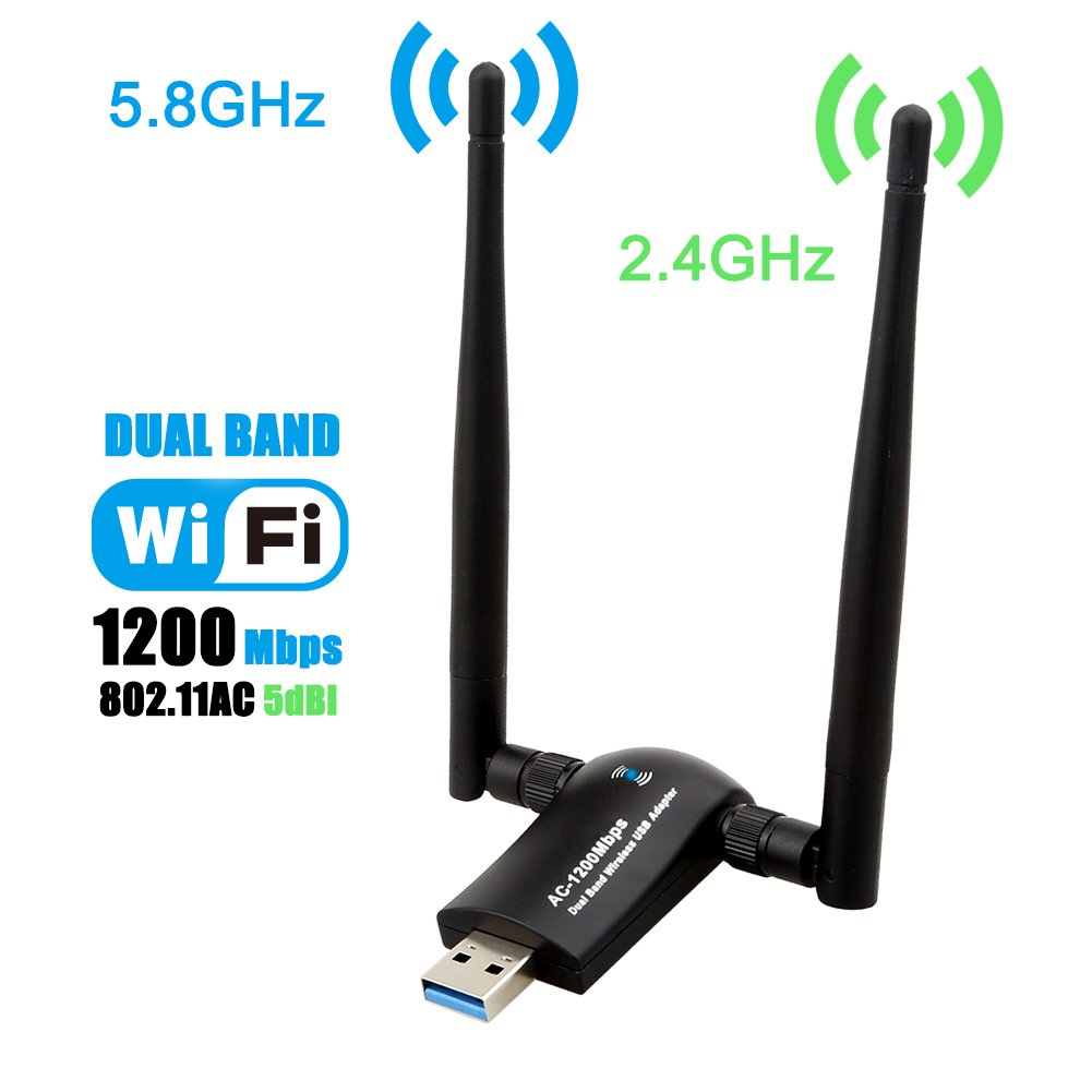 Wireless USB WiFi Adapter, Techkey 1200Mbps Dual Band 2.4GHz/300Mbps 5GHz/867Mbps High Gain Dual 5dBi Antennas Network WiFi USB 3.0 for Desktop Laptop with Windows 10/8/7/XP, Mac OS X, Ubuntu Linux