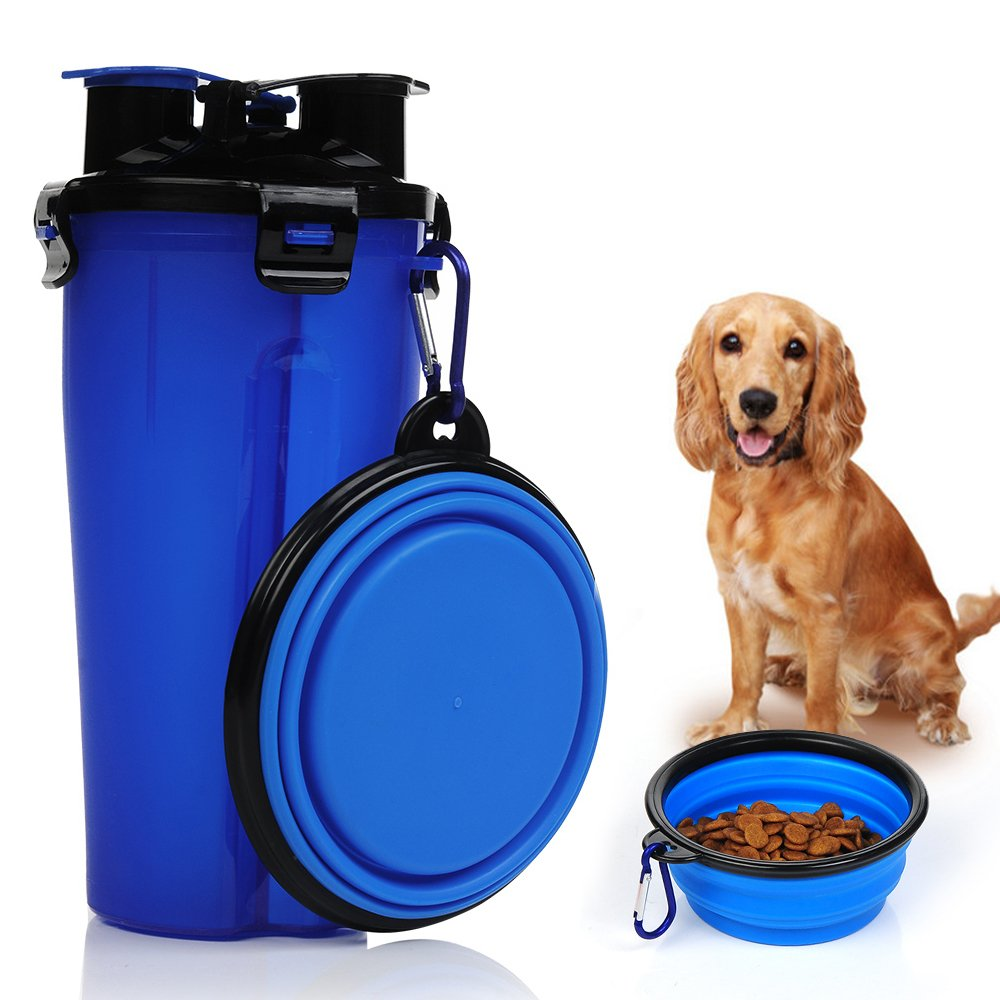 KASOS 2 in 1 Travel Outdoor Portable Pet Water and Snack Bottle Cup Dog Water Dispenser with Bowl, Dual Chambered Pet Dog Food and Water Storage Container for 350ml/12oz Water and 250g Snack