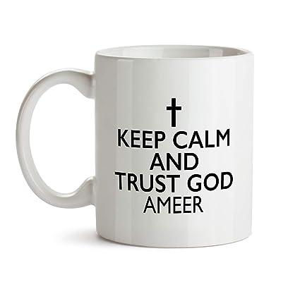 Amazon.com: Keep Calm And Trust God Mug - Personalized Name Gift ... #blackCoffee