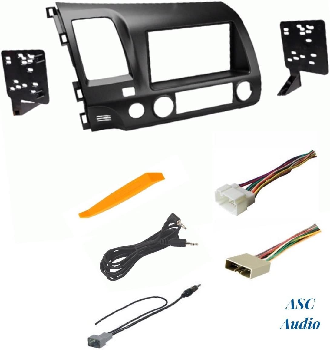 ASC Audio Car Stereo Dash Install Kit Wire Harness Other and Antenna Adapter for Installing an Aftermarket Double Din Radio for 2007 2008 2009 2010 2011 Honda CRV CR-V No Factory NAV