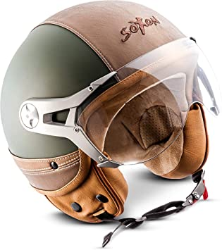 Soxon Sp 325 Urban Green Jet Helm Motorrad Helm Roller Helm Scooter Helm Moped Mofa Helm Chopper Retro Vespa Vintage Pilot Ece 22 05 Visier Leather Design Schnellverschluss Tasche S 55 56cm Auto