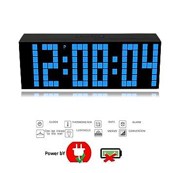 T Tocas 23,5cm Digitale LED Horloge murale à Bleu LED avec Alarme ...