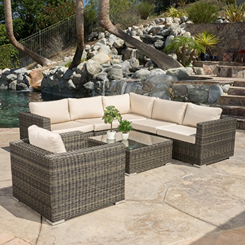 Henderson Outdoor 7-piece Wicker Seating Sectional Set with Sunbrella Cushions - Outdoor Sectional Seating