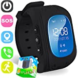 TURNMEON Smart Watch Phone for Kids Boys Girls GPS Children Fitness Tracker Smartwatch Holiday Christmas Birthday Gifts with SIM Calls Anti-lost SOS Wristband Bracelet Wrist Watch (Black)