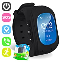TURNMEON Smart Watch Phone for Kids Boys Girls GPS Children Fitness Tracker Smartwatch Birthday Gifts with SIM Calls Anti-lost SOS Voice Chat Bracelet Wrist Watch for Travel Camping Android iOS APP Control (03 Black)