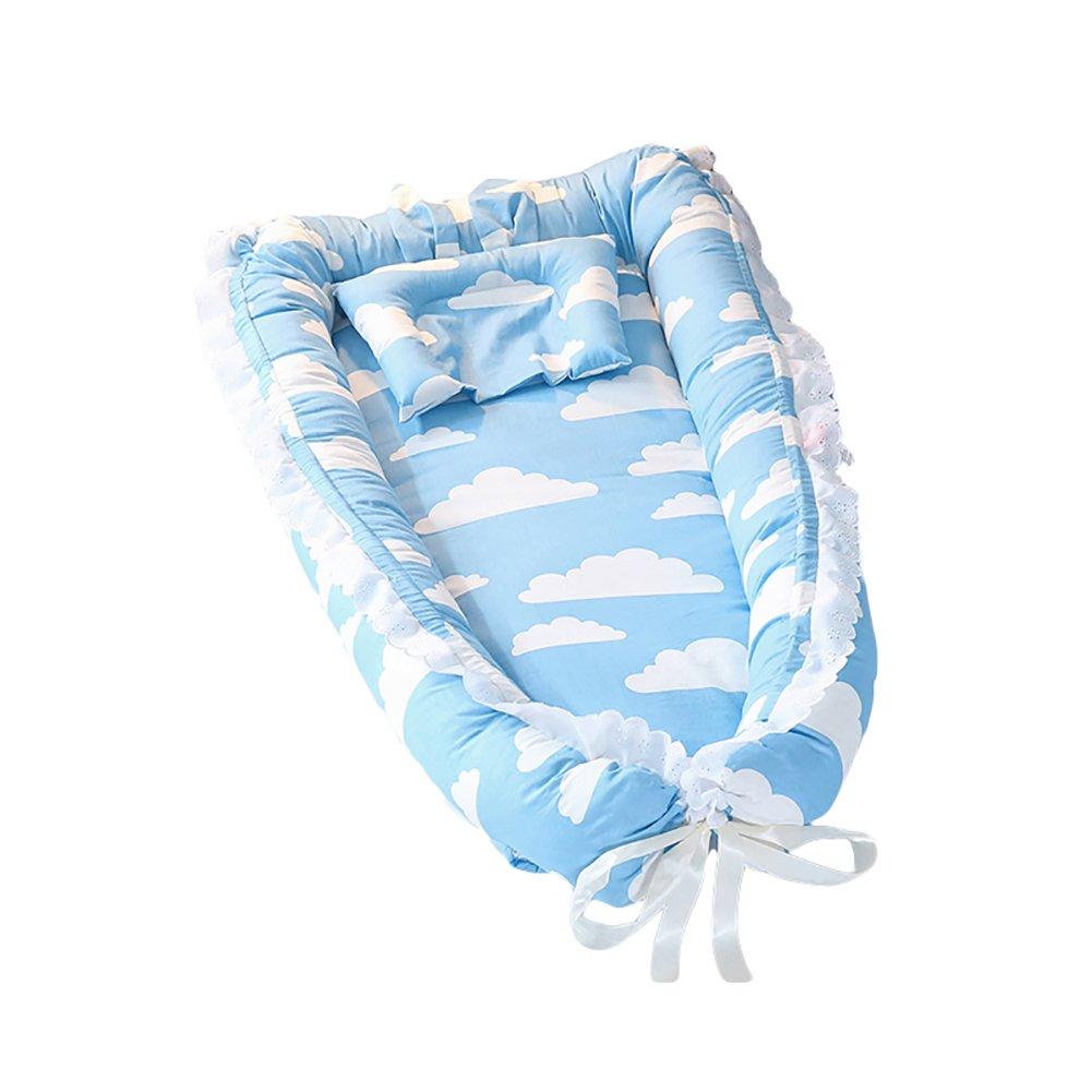ETbotu Baby Detachable Mattress Baby Nest Newborn Babynest Sleep Bed Blue Cloud 905515CM
