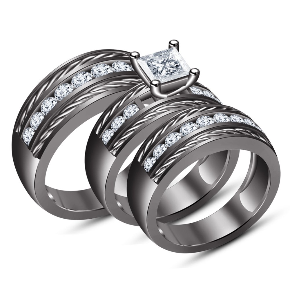 TVS-JEWELS Wedding Trio Ring Set Black Rhodium Plated 925 Sterling Silver Luxury Simulated Diamond by TVS-JEWELS