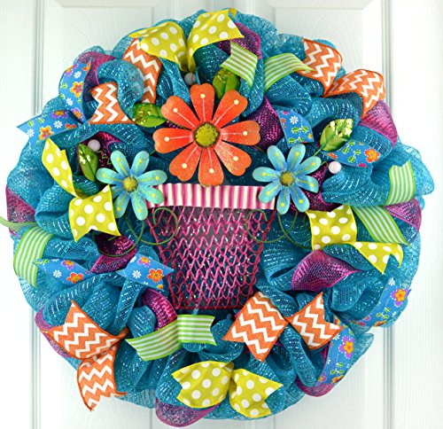 Spring Flower Pot Deco Mesh Door Wreath; Turquoise, Pink, Orange, Lime Green, Yellow