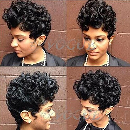 Exvogue Cool Style Synthetic Black Short Curly African Hair Wigs for Women and - Style Black Short