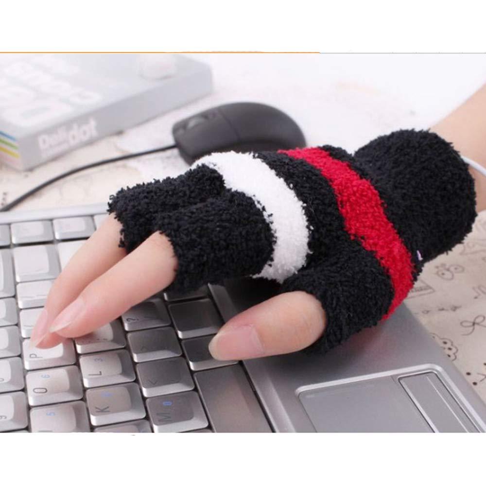 Wenn Spiele Oder Eingabe Spielen yyuezhi USB Beheizte Fingerlose Handschuhe USB Handschuhe USB Beheizt Winter Handw/ärmer Handschuh USB Heizung Schwarze Streifen Pflegen Einheitliche Warme Hand
