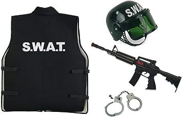 Disfraz de Diablo de Carnaval – Juego SWAT para niños de 4 Piezas ...