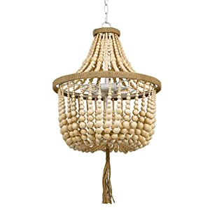 """Stone & Beam Modern Farmhouse Natural 2-Light Chandelier, 24"""" H, WithBulbs, Real Wood Beads"""