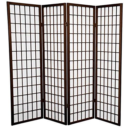 Oriental Furniture 5 ft. Tall Window Pane Shoji Screen - Walnut - 4 Panels