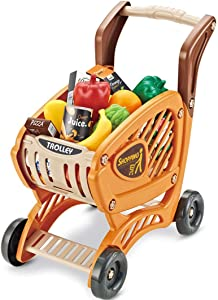 Pretend Play Shopping Cart Toys 43 Pieces, Supermarket Brown Cart, Fruits, Vegetables for Kids