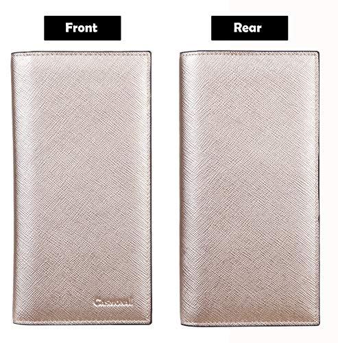 Casmonal Genuine Leather Checkbook Cover For Men & Women Checkbook Holder Wallet RFID Blocking(rose gold)