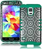 Bastex Heavy Duty Hybrid Case for Samsung Galaxy S5 i9600 - Teal Silicone Cover/ Antique Circle Design Hard Shell