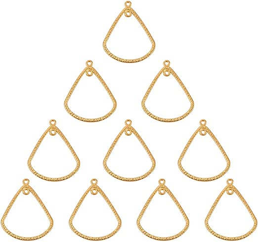 4 New Charms Gold Plated Hollow Star Pendants Connectors 39mm