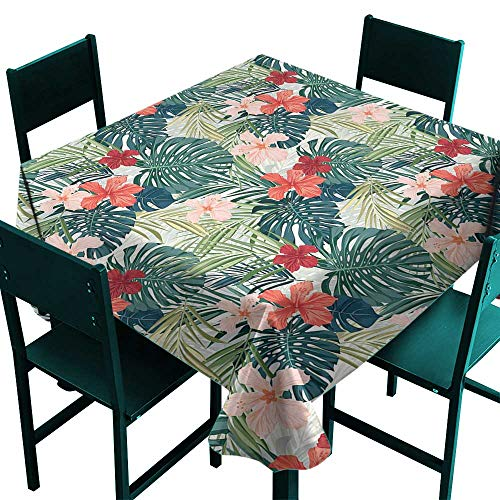(ScottDecor Leaf Tablecloth Modern Summer Beach Holiday Themed Hibiscus Plumeria Crepe Ginger Flowers Pink Red Green and Dark Green Tablecloth for Square Table W 70