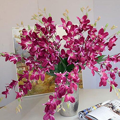 AkoMatial artificiali Fiori finti, artificiale finto Fiore orchidea pianta Home Office decorazione Della Festa nuziale ornamento - Viola