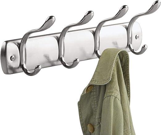 negro mate//plateado InterDesign Bruschia Colgador de pared perchero de metal con 6 ganchos para colgar