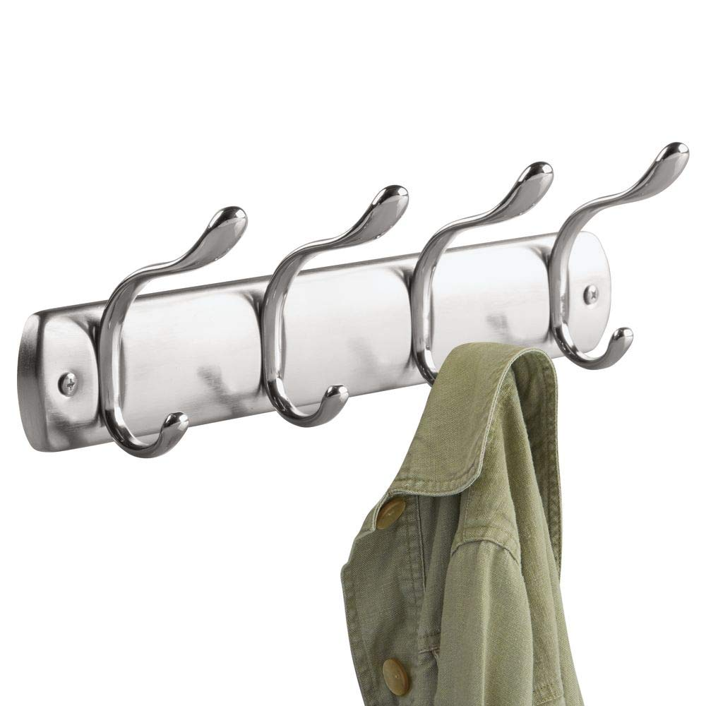 """iDesign Bruschia Wall Mounted Entryway and Mudroom Storage Rack, 4 Hooks for Jacket, Coat, Scarf, Hat, Leash, Keys, 13"""" x 3"""" x 3.75"""", Brushed Nickel and Chrome"""