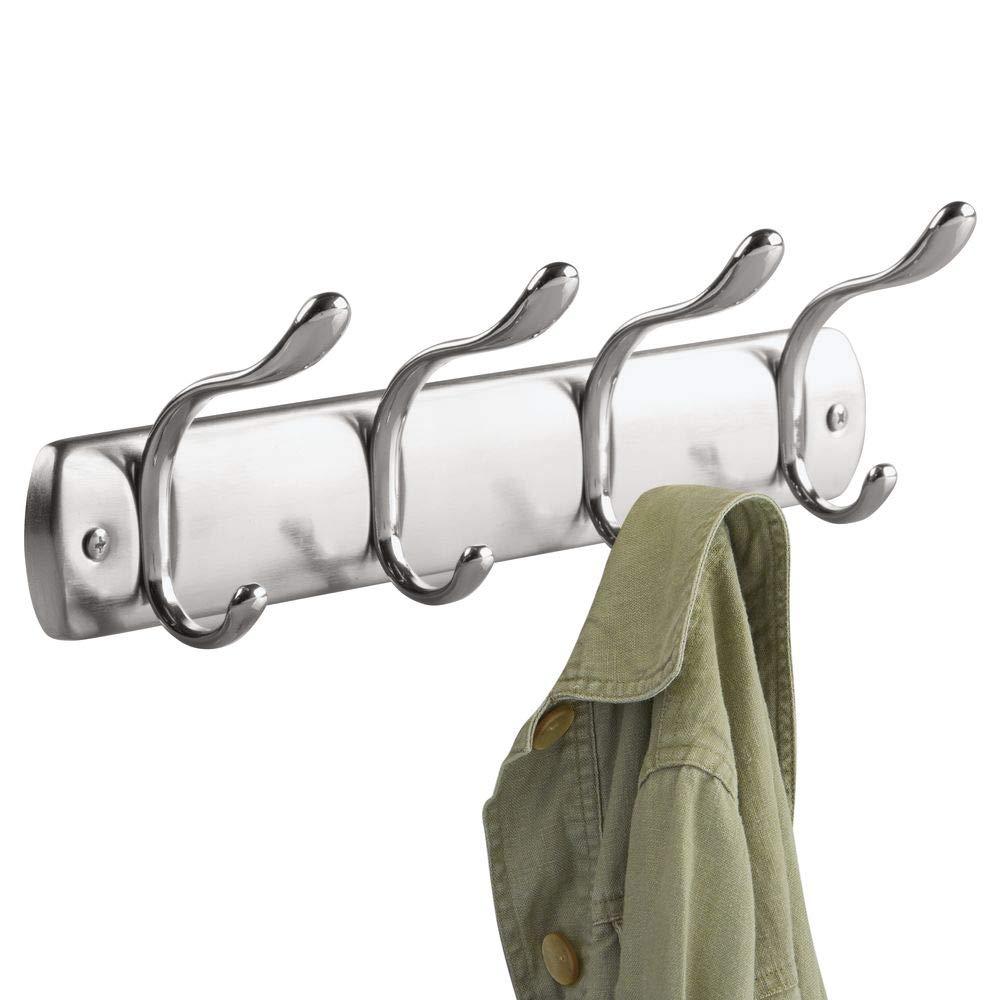 InterDesign Bruschia Colgador de pared, perchero de metal con 4 ganchos para colgar, plateado/plateado mate: Amazon.es: Hogar