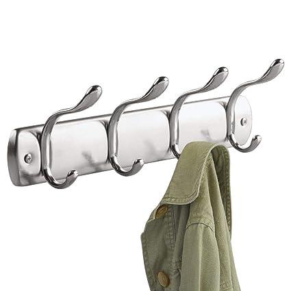 InterDesign Bruschia Colgador de Pared, Perchero de Metal con 4 Ganchos para Colgar, Plateado/Plateado Mate